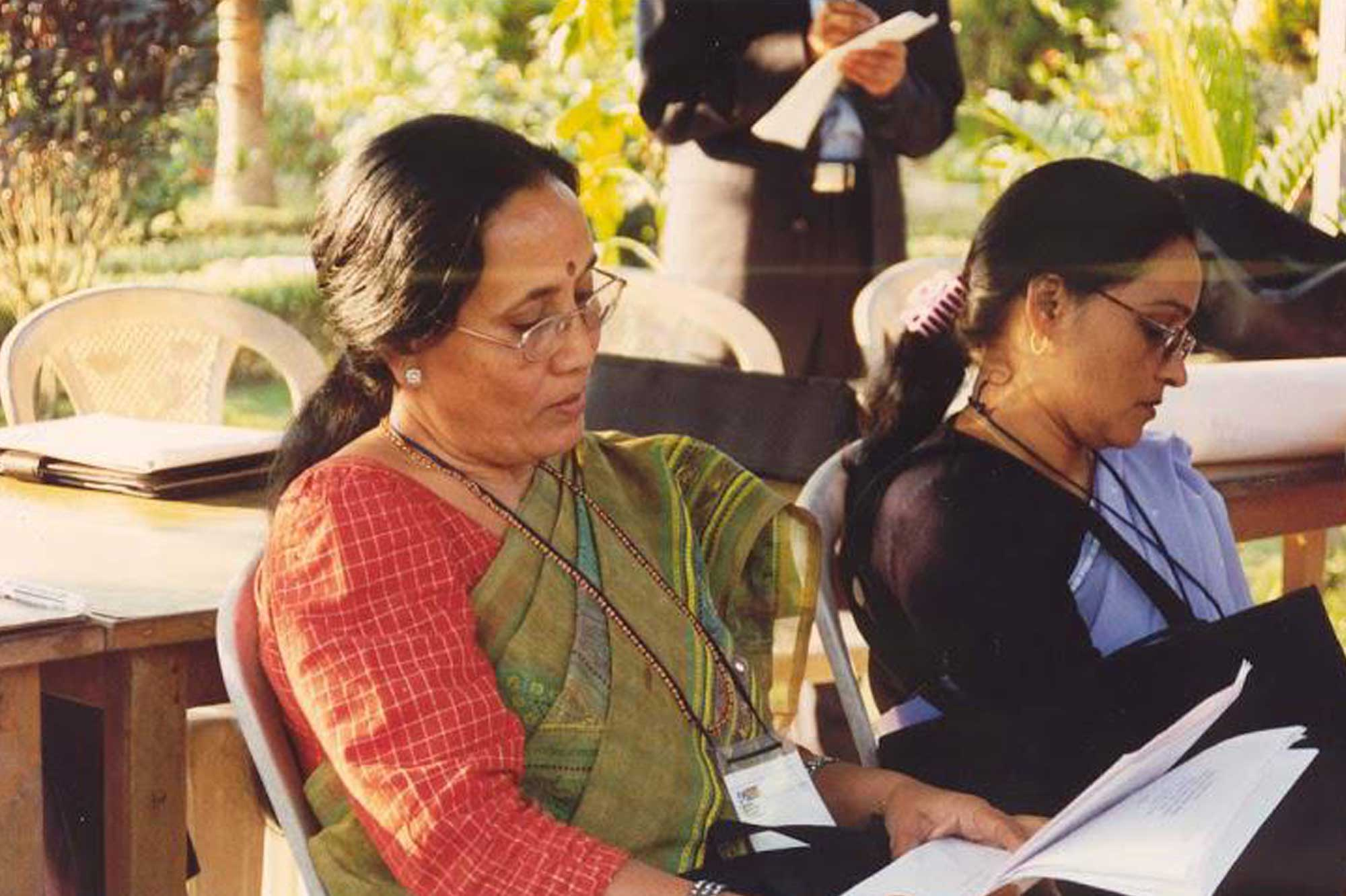Women reading a paper